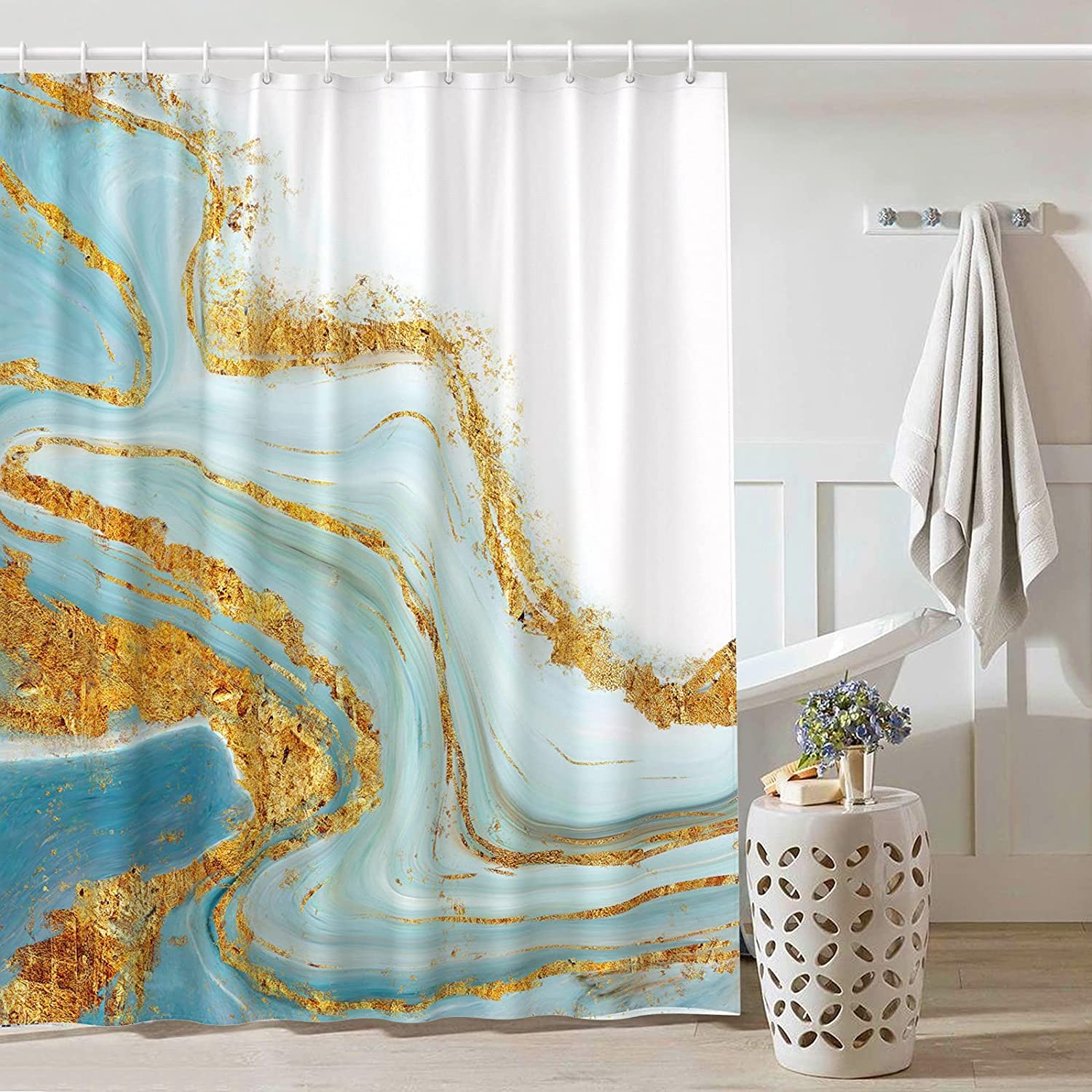 BTTN Marble Shower Curtain Fabric Teal Blue - Abstract Shower Curtains for Bathroom Decor with Gold Ink Texture Pattern with 12 Hooks, 72x72 Waterproof Heavy Weighted Bathtub Curtains