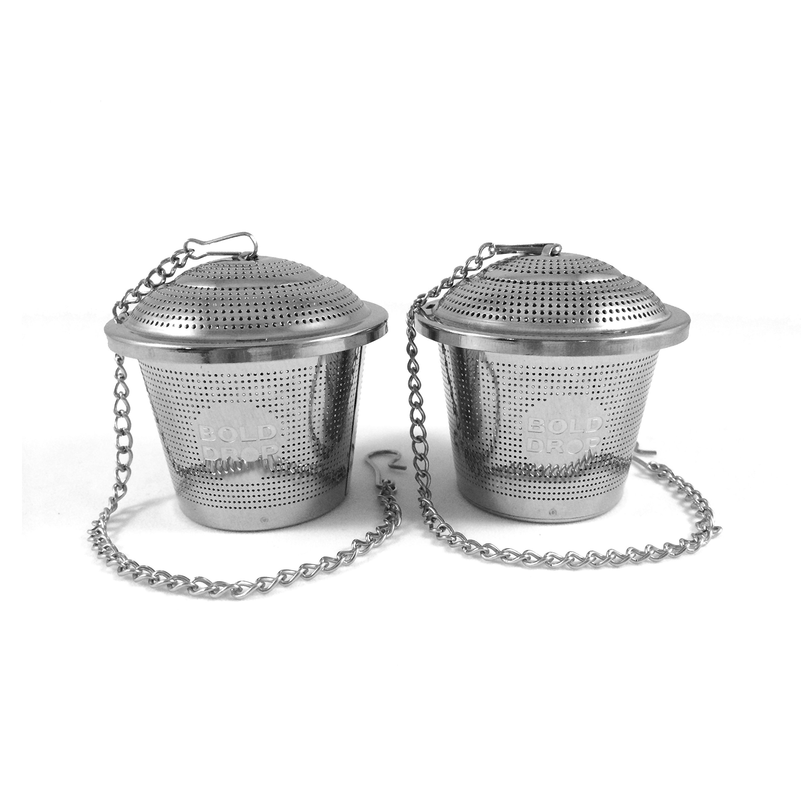 BoldDrop Extra Fine Loose Leaf Tea Infuser/Stainless Steel Filter with Extended 7'' Chain (Pack of 2)