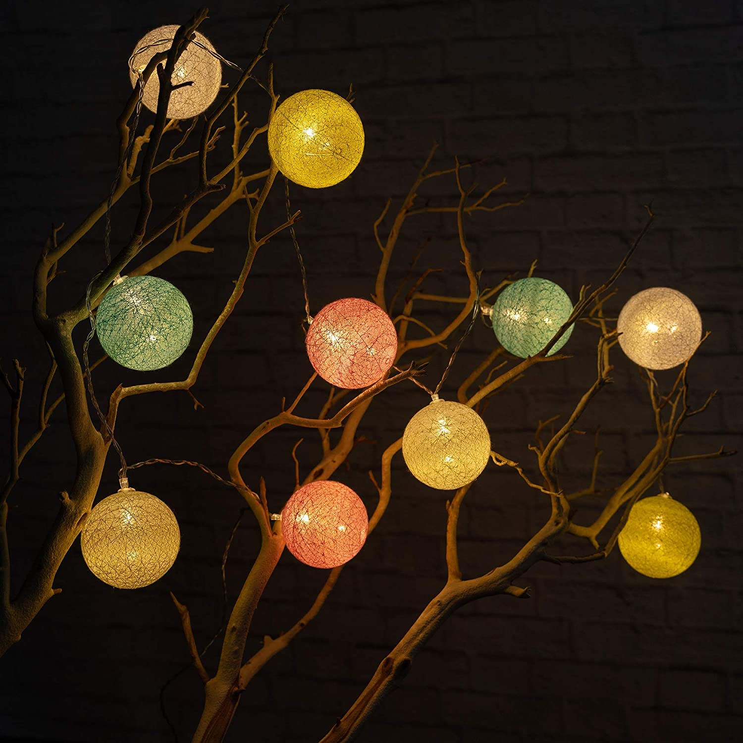 Warm White West Ivory 5.75 feet 10 LED Colorful Globe Balls String Fairy Light Battery Powered Decorative Indoor Outdoor