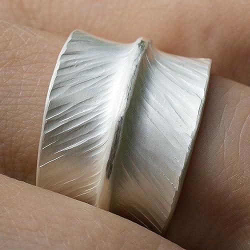 Breiter Ring Silber Bandring Gehammerte Ausgefallene Ringe