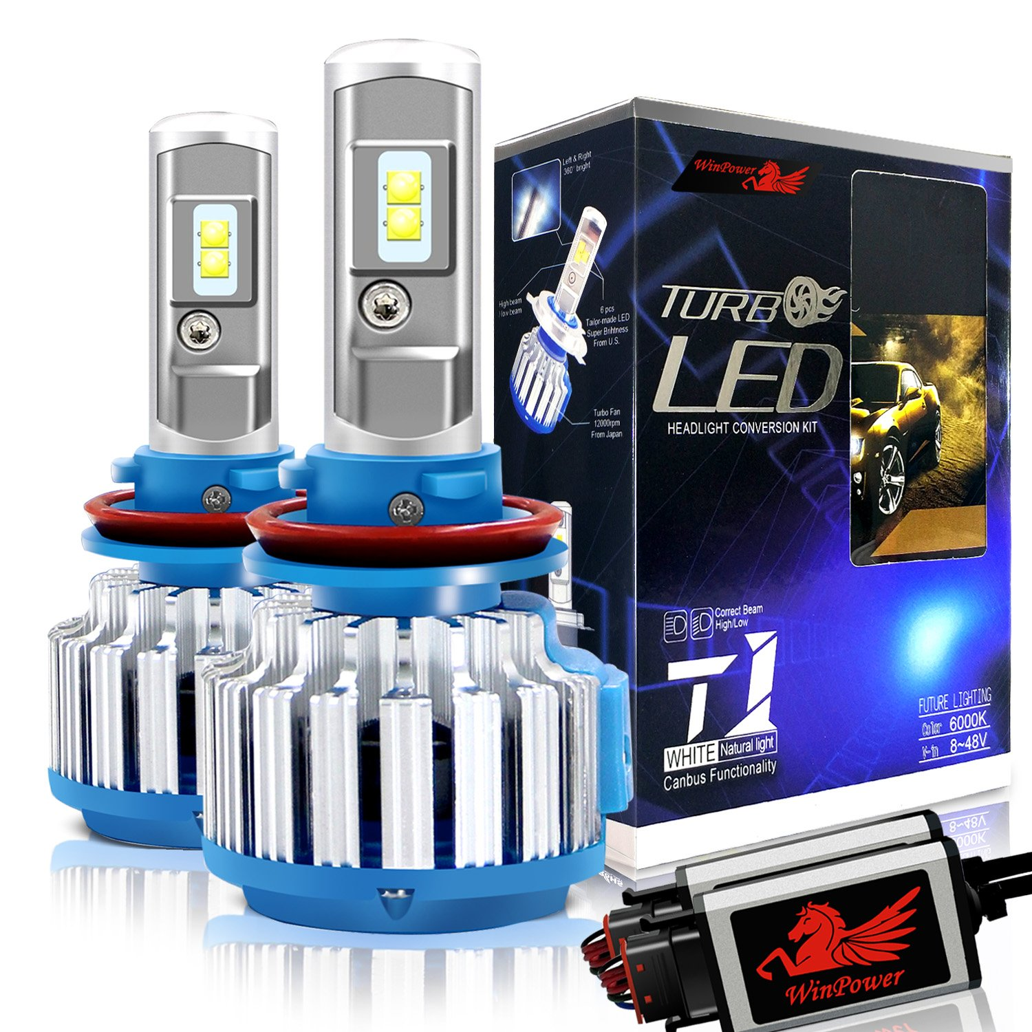 Win Power H11 Led Headlight Bulb Conversion Kit H8 H9 Boost Driver For Hb Leds Cree 70w 7200lm 6000k Cool White Fog Lights Canbus 2 Yr Warranty Automotive