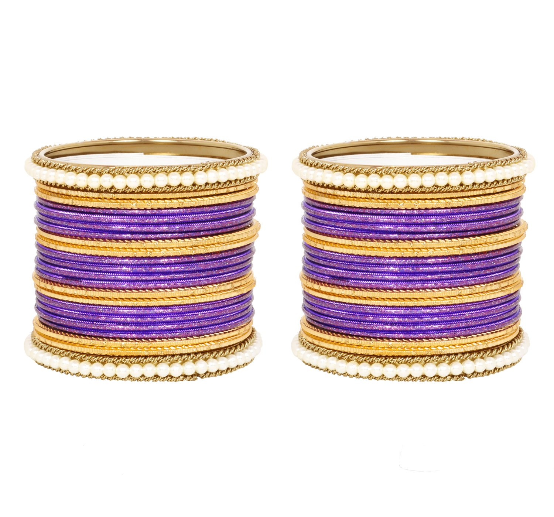 Ratna Traditional Indian Purple color Pearl Polki Kada Indian Bangles Awesome 44 pcs Jewellery (2.8)