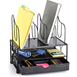 CAXXA Desktop Organizer with Two Trays, Drawer and 5 Upright Sections File Folder Binder Letter Magazine Sorter, Black