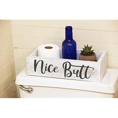 Nice Butt Bathroom Decor Box - Toilet Paper Holder - Farmhouse White Rustic!