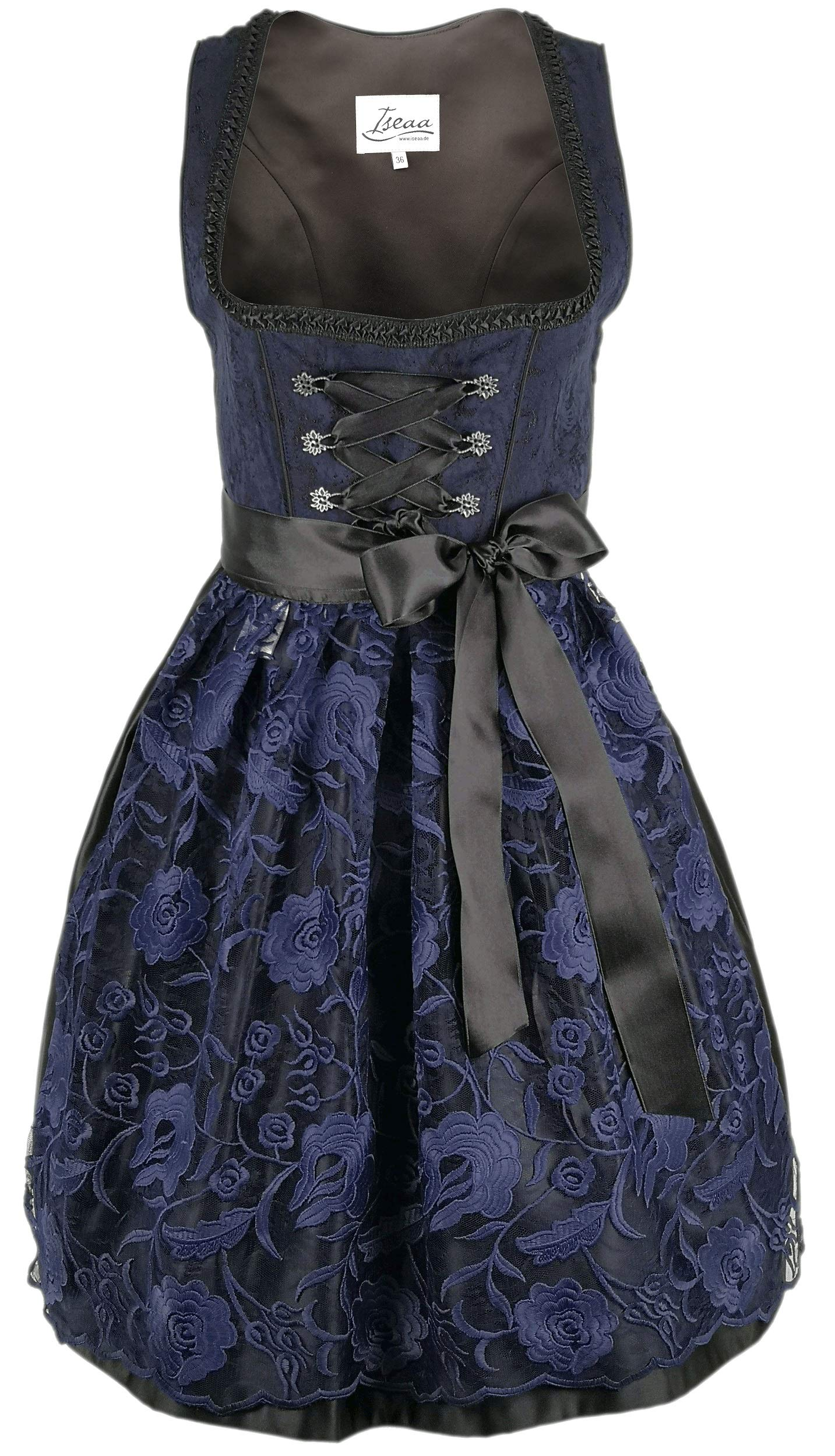 Dirndl 2 pcs.Traditional Dress Lena in Dark Blue with lace Apron 42 by Iseaa