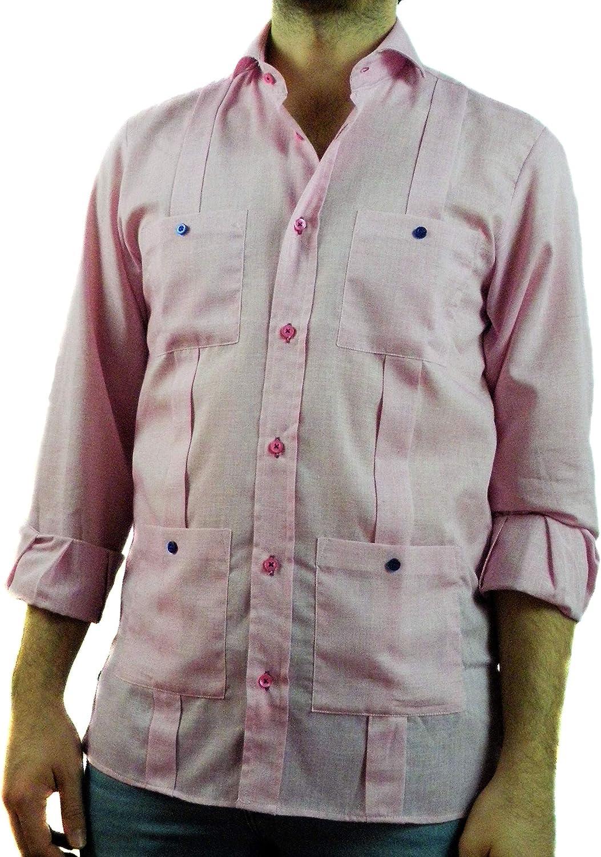 Camisa Guayabera Caballero Rosa Chicle Semi-Hilo (XXL ...