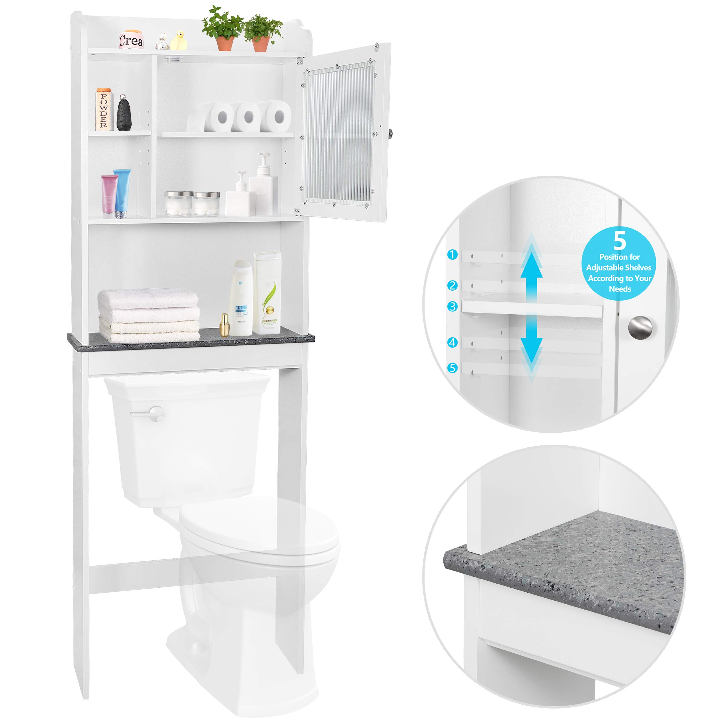 SUPER DEAL New Version Over-The-Toilet Bathroom Storage Cabinet Freestanding Wooden Bathroom Organizer w/Adjustable Shelves by SUPER DEAL