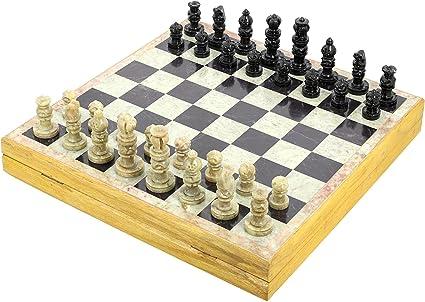 Shalinindia ajedrez Clasico Madera Rajasthan Arte único ajedrez de Piedra y tamaño del Tablero
