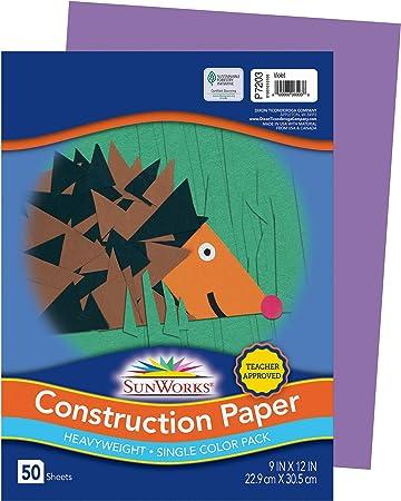 """SunWorks Construction Paper Violet 50 Sheets 50-Count Violet 9/"""" x 12/"""""""