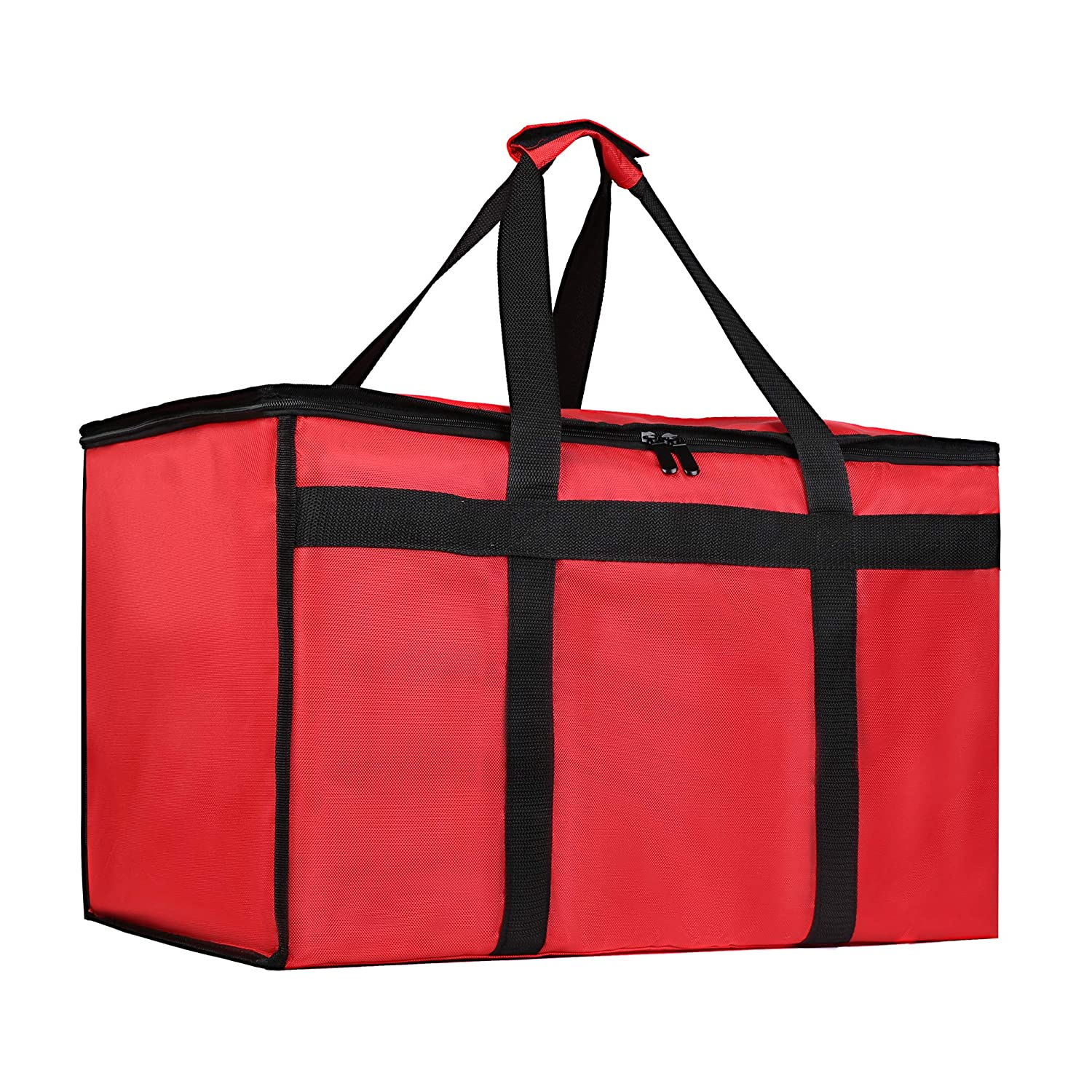 Insulated Food Delivery Bag for Uber Eats, Pizza Warmer Bag, Red Grocery Bag for Hot/Cold Item
