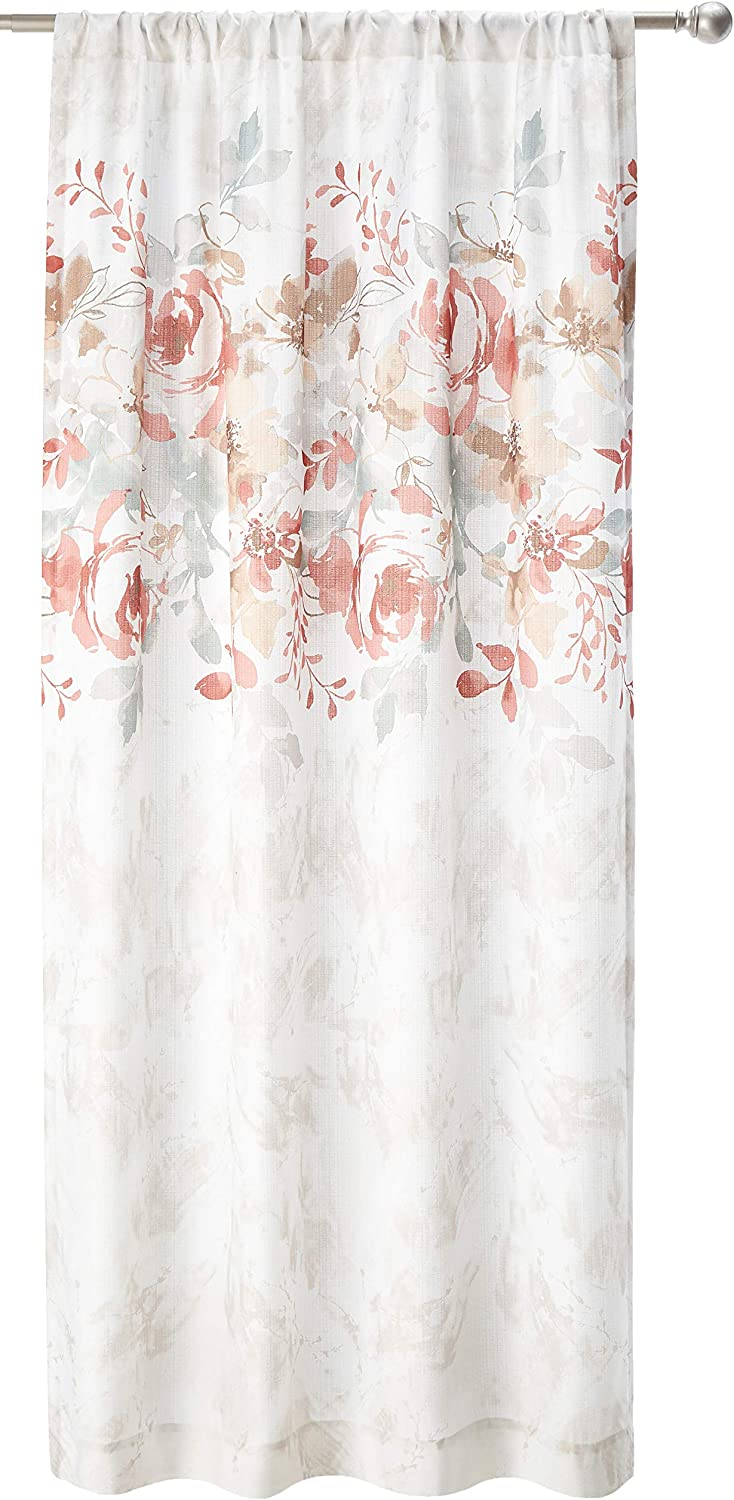 Amazon Com Chf Watercolor Floral Print Rod Pocket Curtain Panel 84 Spice Home Kitchen