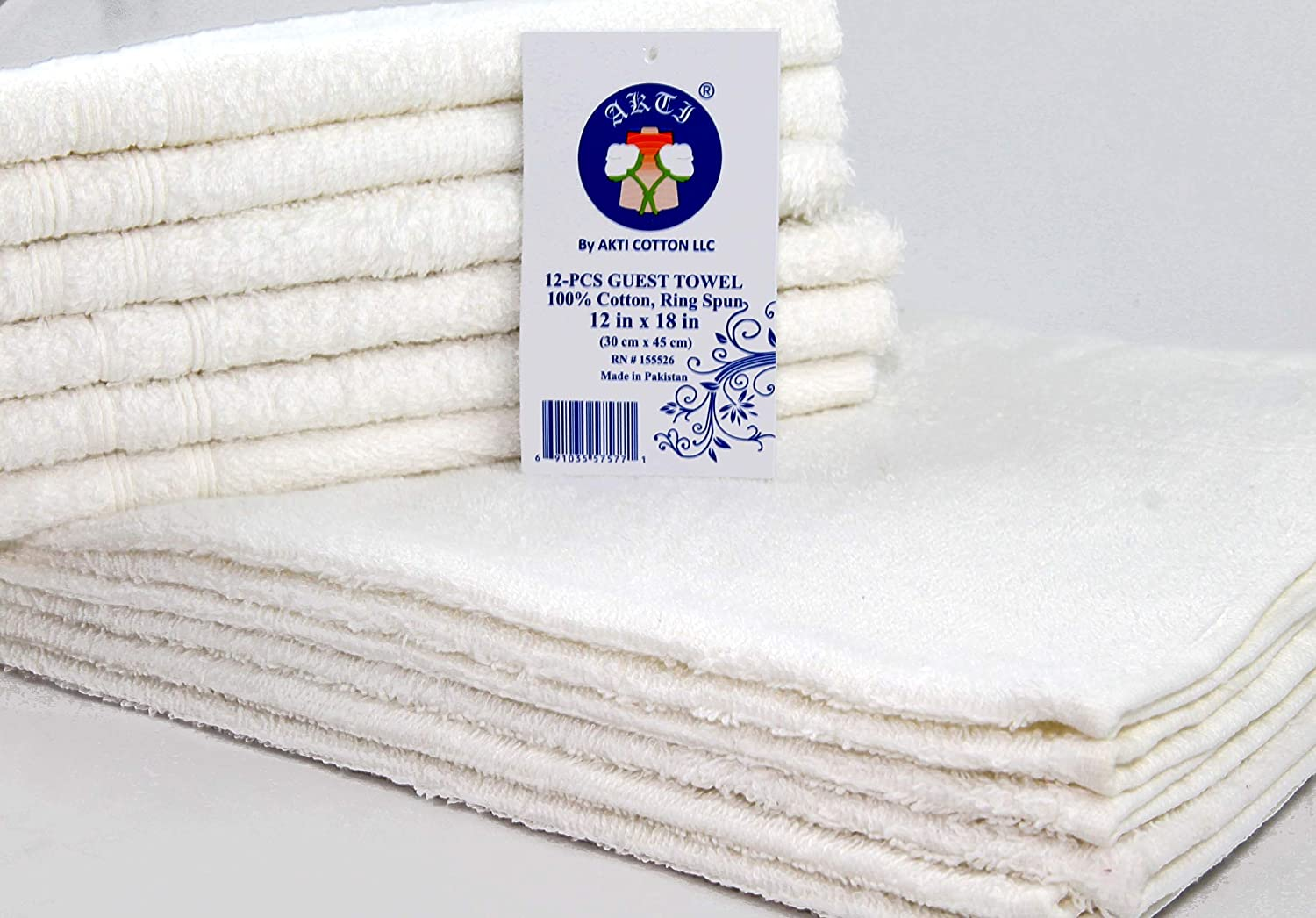 AKTI COTTON - Great Deal! (Pack of 12) Budget Friendly WASHCLOTH, Multipurpose Use, 100% Cotton, 12 x 18 inches. Extra Long WASHCLOTH.Wash Before Use 81pRKSB0g6L