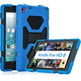 KIDSPR Fire HD 8 Case 2016, Silicone [Protective] Shockproof Kids proof Impact Resistant Outdoor Gift Cases Covers with Stand for 2016 Release Amazon Fire 8 Inch Tablet (2016 Only)(Blue Black)