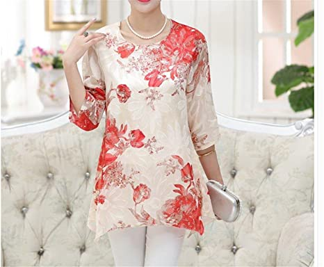 New Summer Vintage Floral Woman Shirts Plus Size 5XXXXXL,4XL Femme Blusas Femininos Red Black