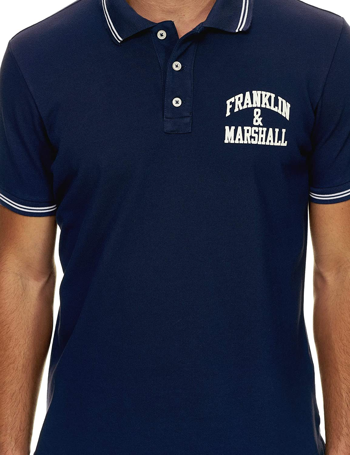 Franklin & Marshall Mens Chest Print Polo T-Shirt Navy in Size ...