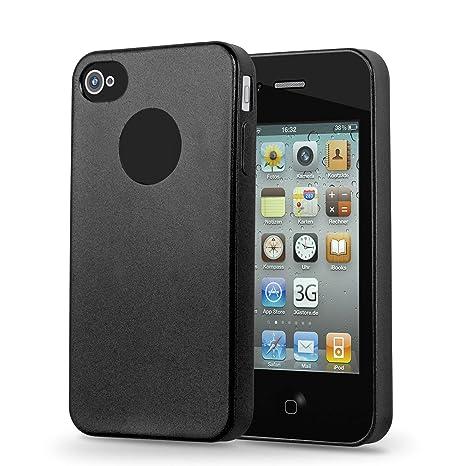 Cadorabo Funda para Apple iPhone 4 / iPhone 4S en Metallic Negro – Cubierta Proteccíon de Silicona TPU Delgada e Flexible con Antichoque – Gel ...