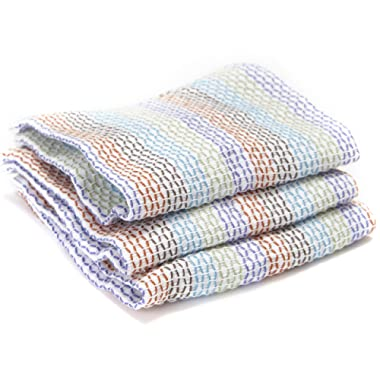 Full Circle Tidy 100% Organic Cotton Dish Cloths, Set of 3, Multicolored