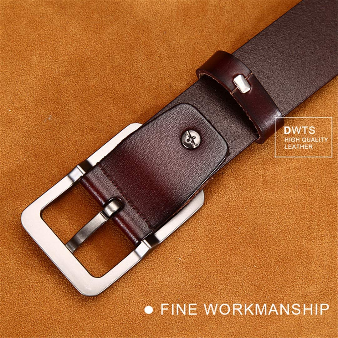Mens Leather Genuine Leather Strap Pin Buckle Casual Belt