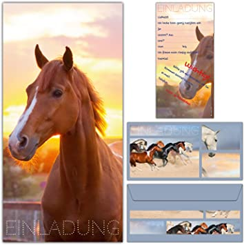 Einladungskarten mit Umschlägen Kindergeburtstag Pferde Fohlen Mädchen