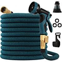 kegemor Expandable Garden Hose 100ft Upgraded,Flexible Lightweight Water Hose With 9 Way Spray Nozzle,Durable 4-layer Latex Core,3/4€ Solid Brass Fittings,Easy Store No Kink Leakproof Expanding Pipe