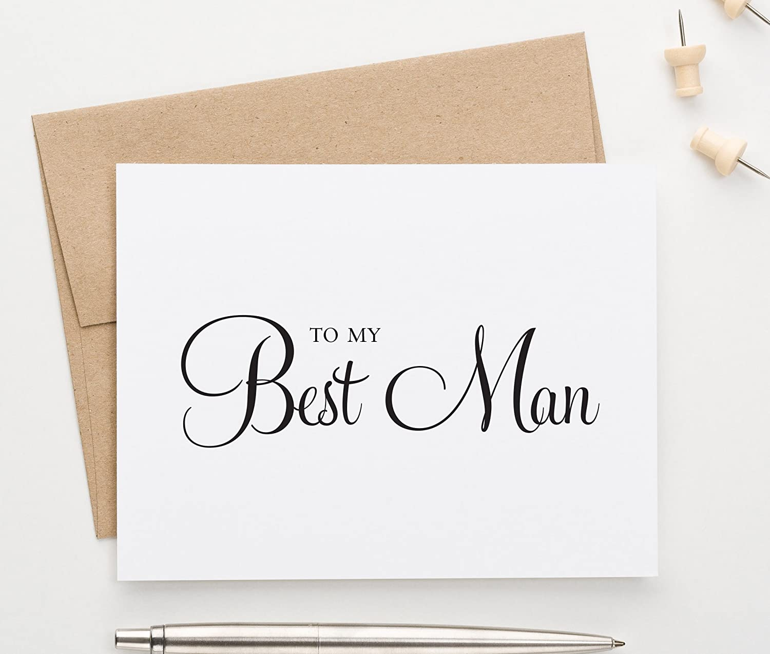 To My Best Man, Wedding Party Thank You Card, 1 Greeting card with envelope