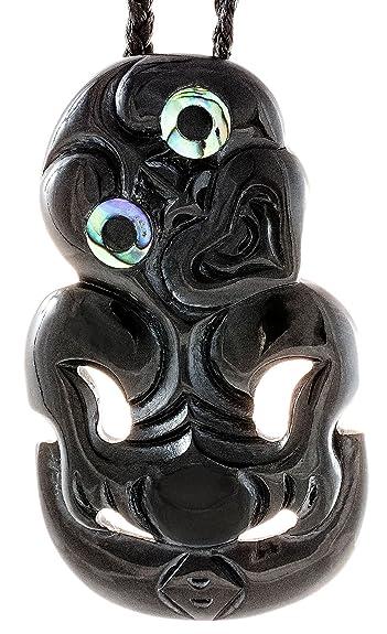 Amazon Earthbound Pacific Stylized Maori Black Horn Hei Tiki