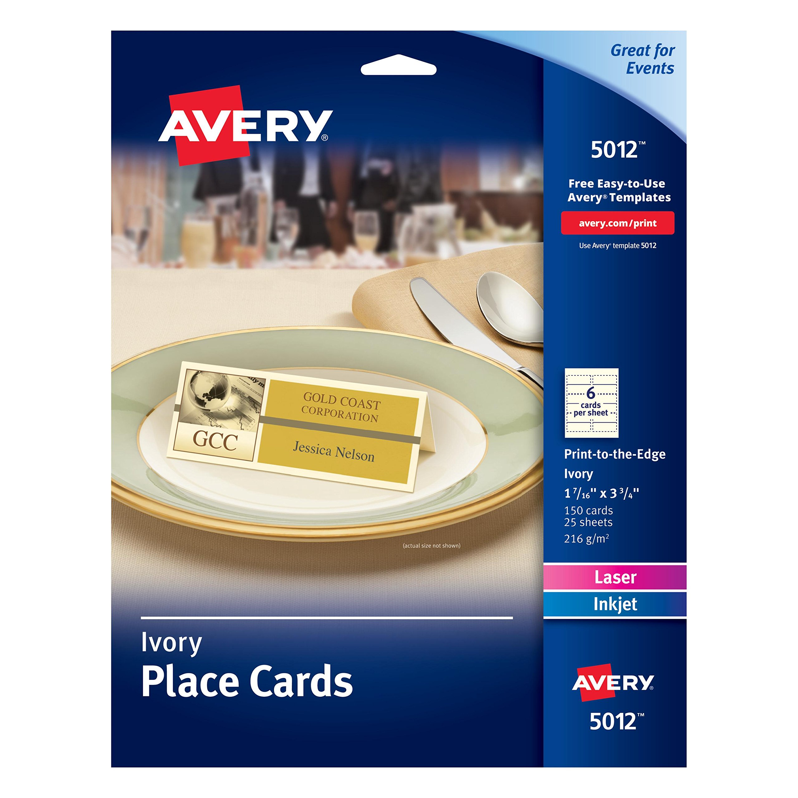 Avery Ivory Place Cards, Laser/Inkjet Printers, 1-7/16''x3-3/4'', Pack of 150 (5012)