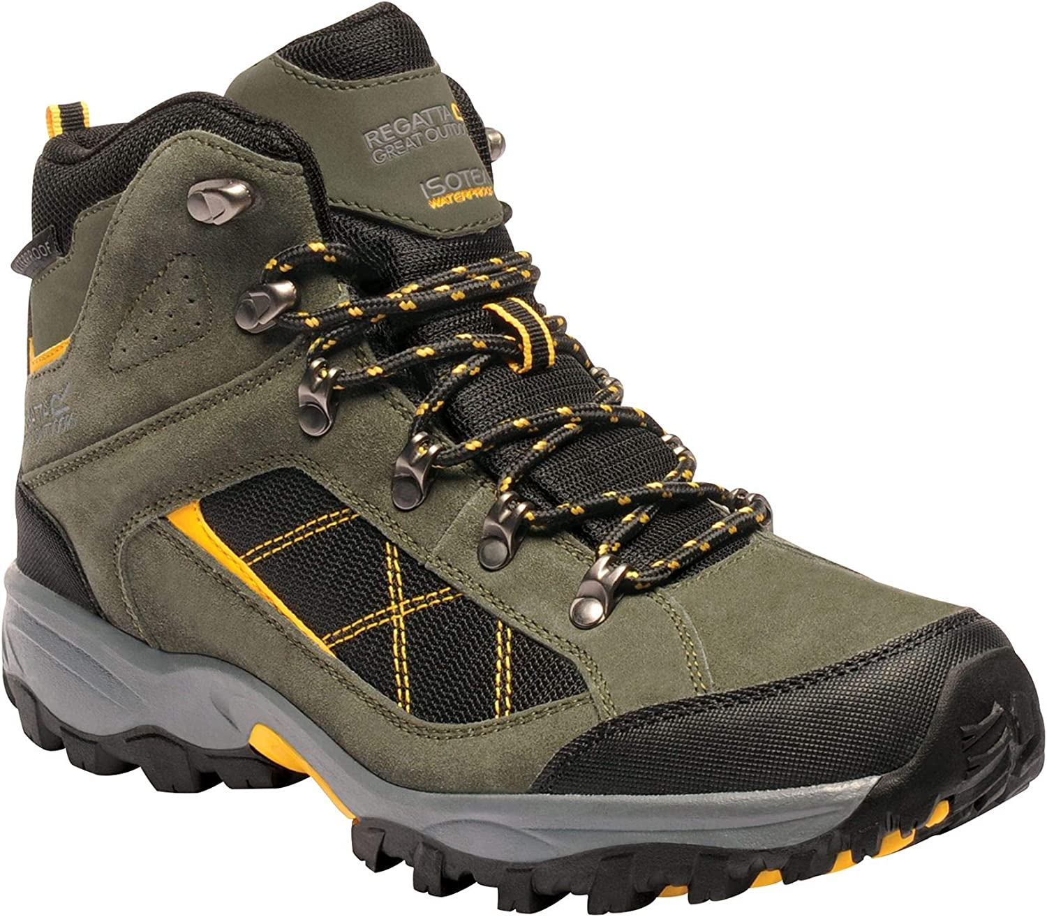 Regatta Great Outdoors Mens Kota Mid Walking Boot Dark Khaki/Gold