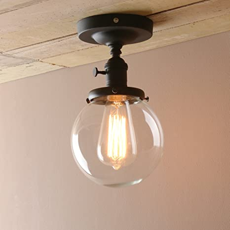 Pathson Industrial Wall Light Fixtures With Clear Glass Shade - Retro kitchen ceiling light fixtures