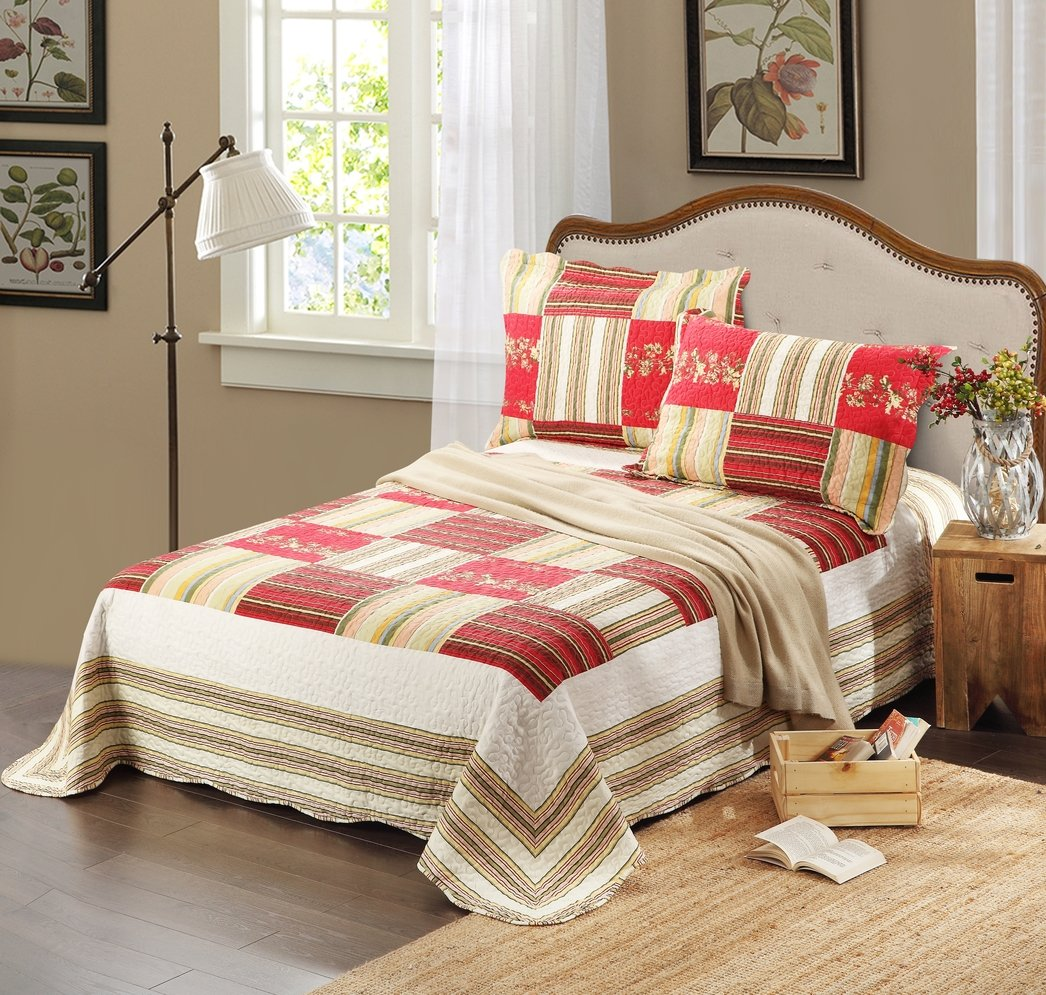 Tache 3 Piece Striped Red Checkmate Print Patchwork Reversible Bedspread Quilt Set, California King