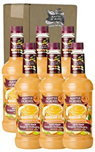 Master of Mixes White Peach Daiquiri / Margarita Drink Mix, Ready To Use, 1 Liter Bottle (33.8 Fl Oz) (Pack of 6)