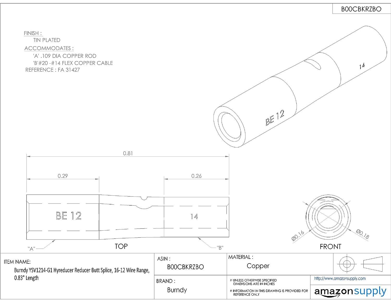0.83 Length 16-12 Wire Range Burndy YSV1214-G1 Hyreducer Reducer Butt Splice