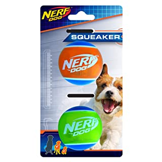 Nerf Dog Rubber Tennis Ball Dog Toys with Interactive Squeaker, Lightweight, Durable and Water Resistant, 2 Inches, for Small/Medium Breeds, Two Pack, Mixed Colors