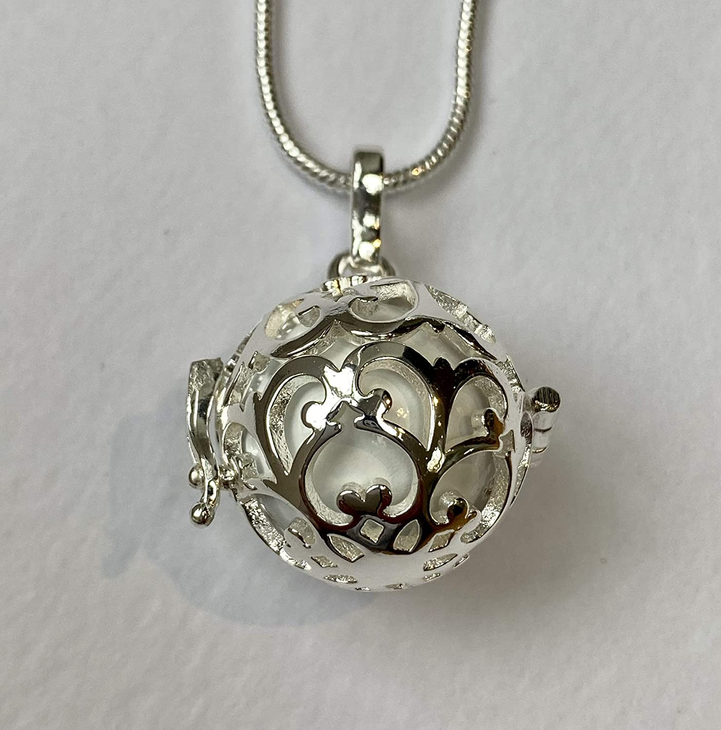 Silver Tree of Life Cage with Silver Bola l Harmony Ball Necklace Kit l Mexican Bola l A Lovely Pregnancy Gift
