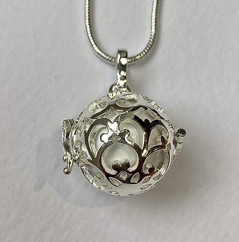 Jaula redonda de encaje de plata con bola blanca l Harmony Ball collar Kit l Bola mexicano l un bonito regalo de embarazo