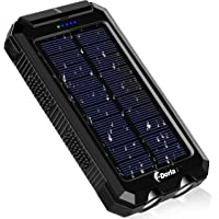 F.Dorla 10000mAh Portable Waterproof Solar Power Bank with Dual 5V USB Ports Output