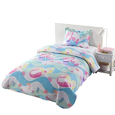 MarCielo 2/3 Pcs Kids Bedspread Quilts Set Throw Blanket for Teens Boys Girls Bed Printed Bedding Coverlet Mermaid Quilt Comforter Set A94 (Twin): Home & Kitchen