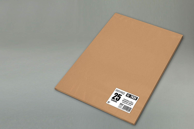 - Color: MARR/ÓN TIERRA Material Reciclable grande Medida 50 x 65cm Pack 25 CARTULINAS 180 gr//m2