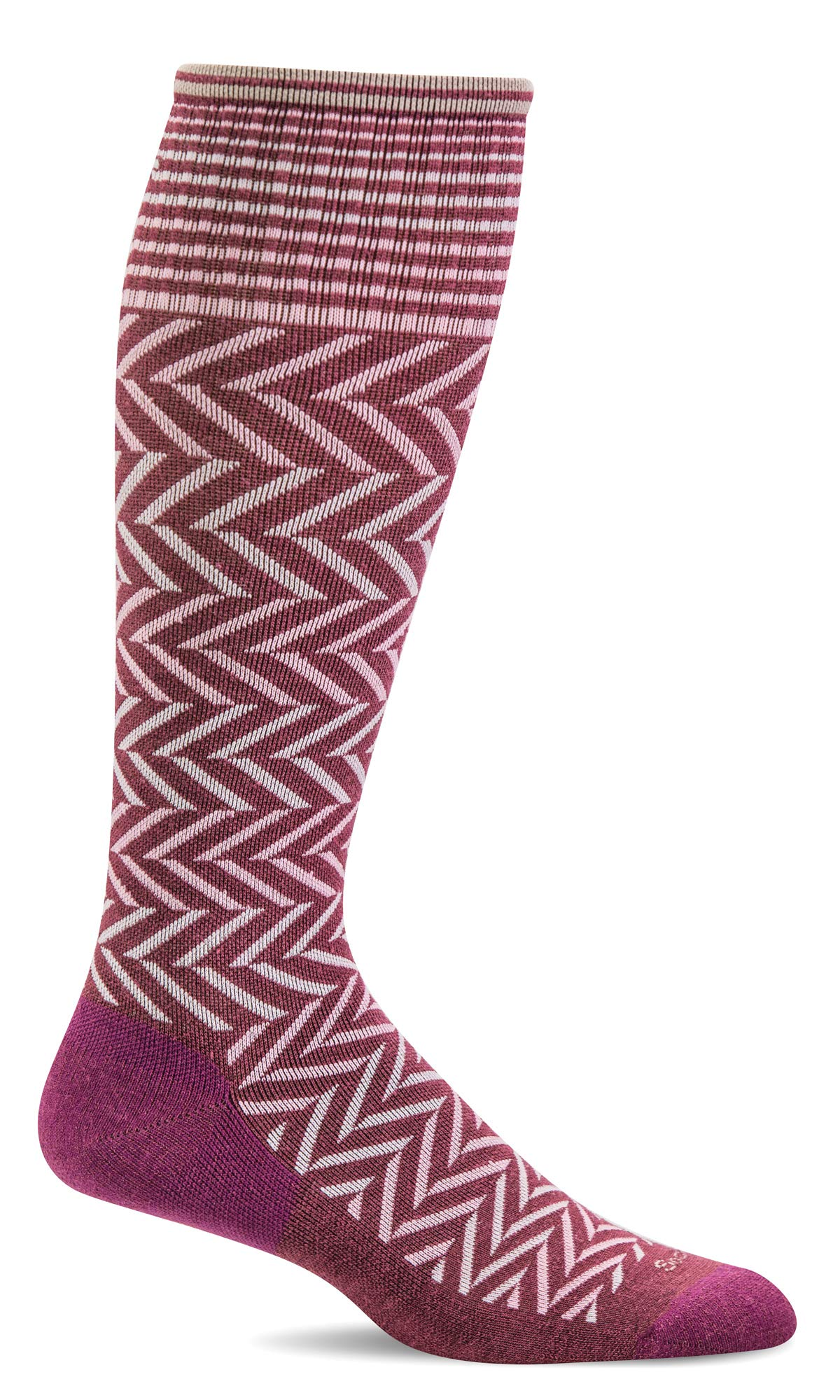 Sockwell Women's Chevron Moderate Graduated Compression Sock, Mulberry - S/M by Sockwell