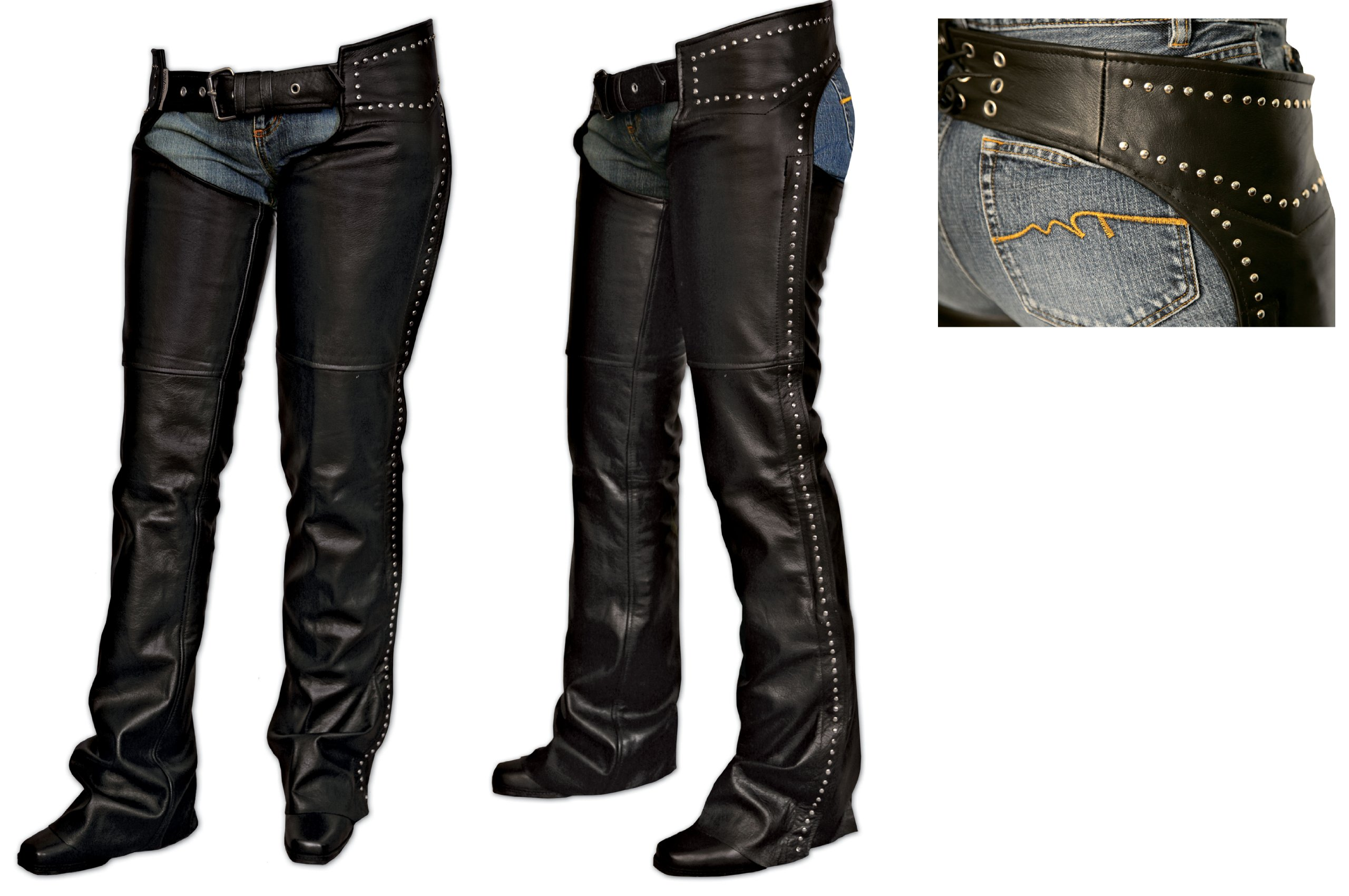 Milwaukee Motorcycle Clothing Company Ladies Chaps with Studs (Black, Small)