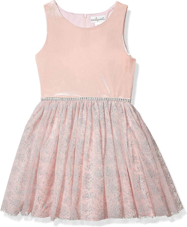 Emily shopping West Girls' Brushed Knit Foil Vest Faux with outlet Fur Dot Dress