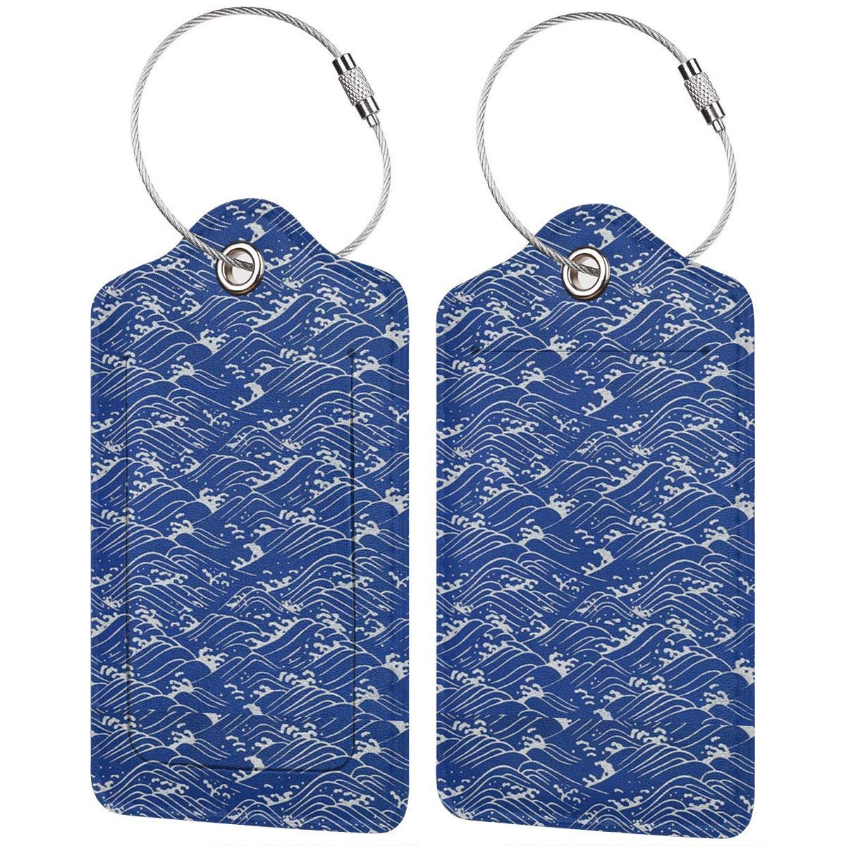 Leather Luggage Tags Full Privacy Cover and Stainless Steel Loop 1 2 4 Pcs Set Ocean Sea Wave 2.7 x 4.6 Blank Tag Key Tags for Instrument Baggage Bag Gift