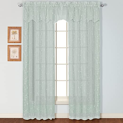 """United Curtain Savannah Dry Hand Linen Look Embroidered Window Panel, 51 by 84"""", Sea Blue, 51"""" X 84"""""""