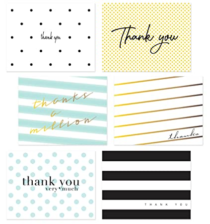 Amazon.com : 54 Pack Thank You Flat Note Cards - Polka Dot and ...