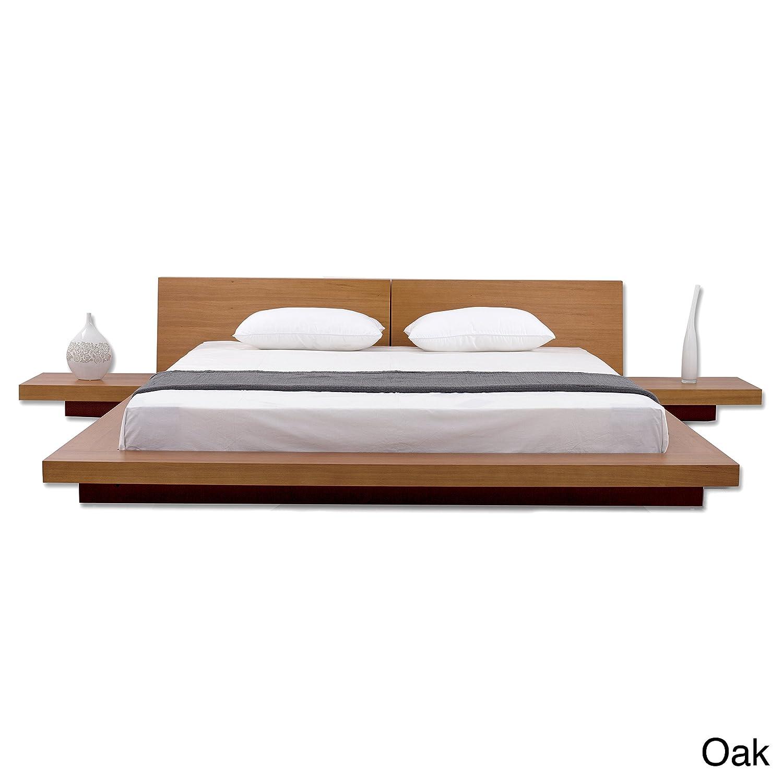 Fujian Modern Platform Bed + 2 Night Stands Queen (Oak).