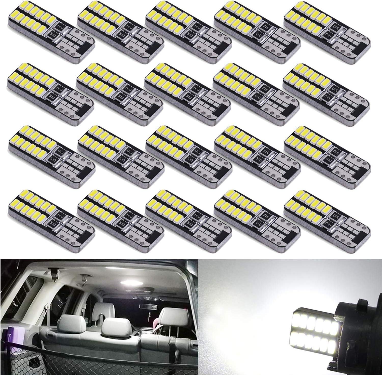 plaque dimmatriculation feux lat/éraux SUMOZO Lot de 6 ampoules LED T10 W5 W 501 2-SMD 3030 194 168 2825 Wedge T10 pour int/érieur de voiture coffre tableau de bord ampoule DC 12 V