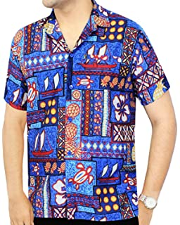 758c31b3 LA LEELA Men's Aloha Hawaiian Shirt Short Sleeve Button Down Casual Beach  Party