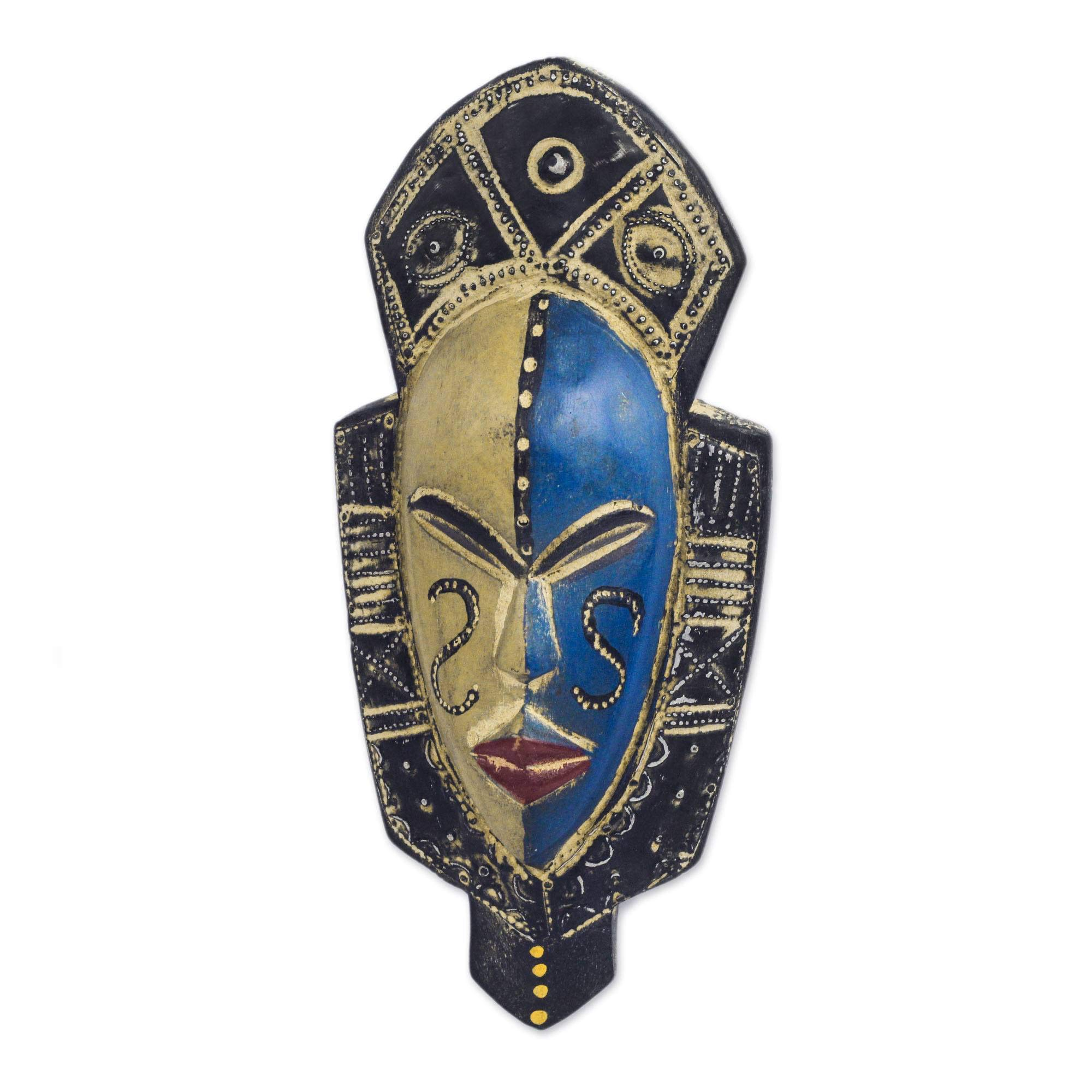 NOVICA 339470 Dual Thandi African Wood Mask Blue by NOVICA
