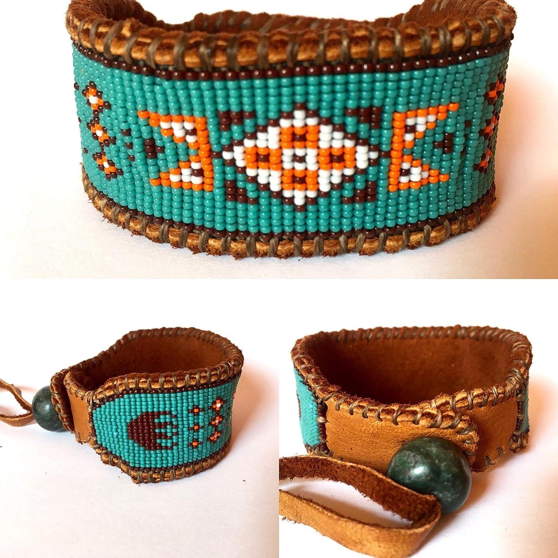 Beaded Sea-foam Orange and Brown Cuff Bracelet on Deer Hide MENS Wide Cuff Wetlands Native American Inspired
