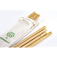 GREENSHUT Set of 8 bamboo straws and sisal brush cleaner (8) Eco-friendly reusable straws.